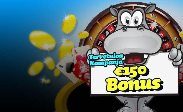 PlayHippo tarjoaa 150 bonuksen + ilmaiskierroksia!